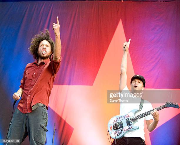Zack de la Rocha and Tom Morello of Rage Against The Machine perform on stage on the second day of Download Festival at Donington Park on June 12...