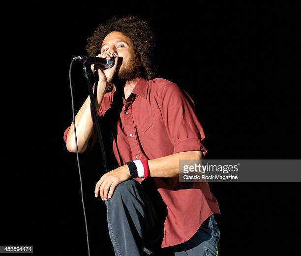 Zack de la Rocha of American rock band Rage Against the Machine live on stage at Reading Festival August 22 2008