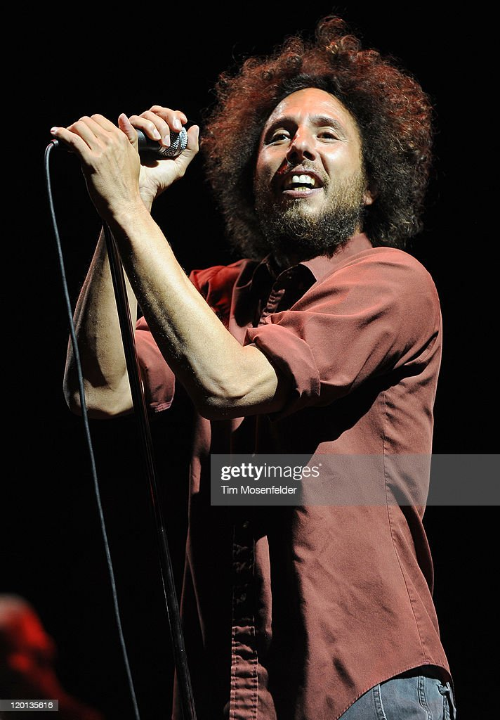 Zack de la Rocha of Rage Against The Machine performs as part of L.A. Rising at the Los Angeles Memorial Coliseum on July 30, 2011 in Los Angeles, California.