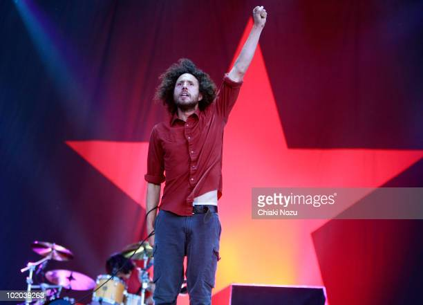 Zack de la Rocha of Rage Against The Machine performs at day 2 of the Download Festival at Donington Park on June 12 2010 in Castle Donington England