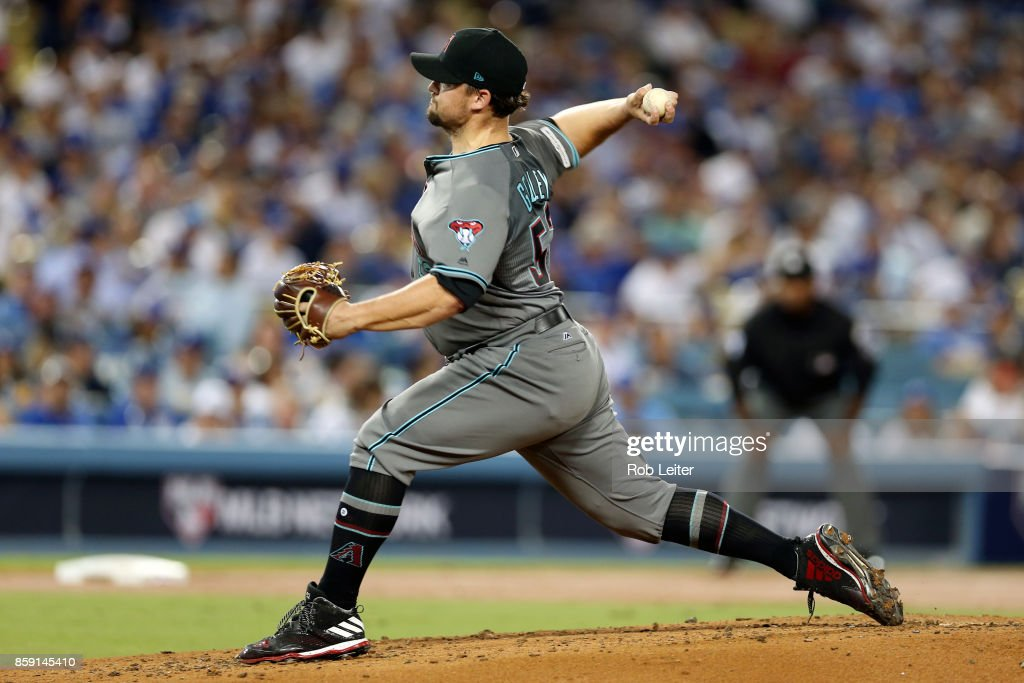 Zack Godley #52 of the Arizona Diamondbacks pitches during Game 1 of the National League Division Series against the Los Angeles Dodgers at Dodger Stadium on Friday, October 6, 2017 in Los Angeles, California.