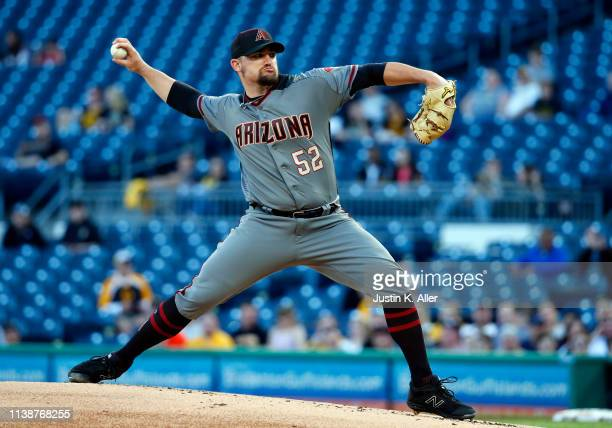 Zack Godley of the Arizona Diamondbacks pitches in the first inning against the Pittsburgh Pirates at PNC Park on April 22 2019 in Pittsburgh...
