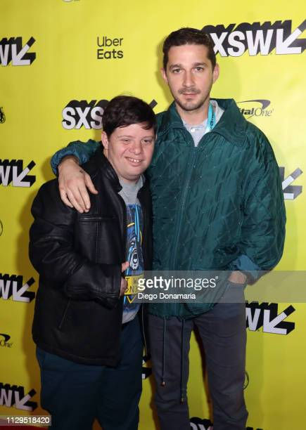 Zack Gottsagen and Shia LaBeouf attend The Peanut Butter Falcon Premiere during the 2019 SXSW Conference and Festivals at Austin Convention Center on...