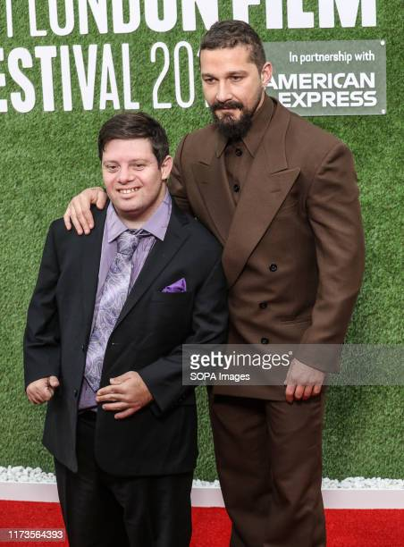 Zack Gottsagen and Shia LaBeouf attend the premiere of The Peanut Butter Falcon as part of the BFI London Film Festival at Odeon Luxe Leicester...