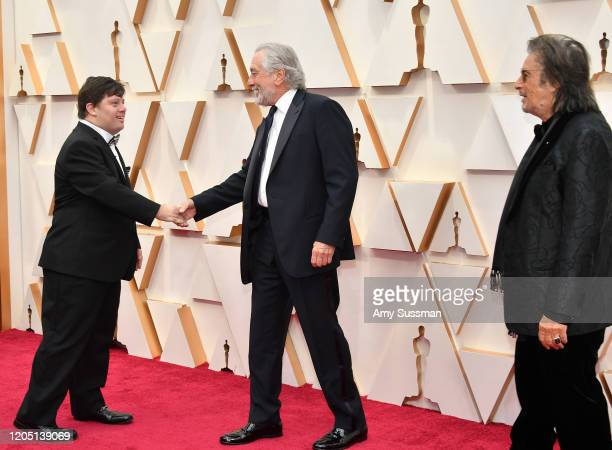 Zack Gottsagen Robert De Niro and Al Pacino attend the 92nd Annual Academy Awards at Hollywood and Highland on February 09 2020 in Hollywood...