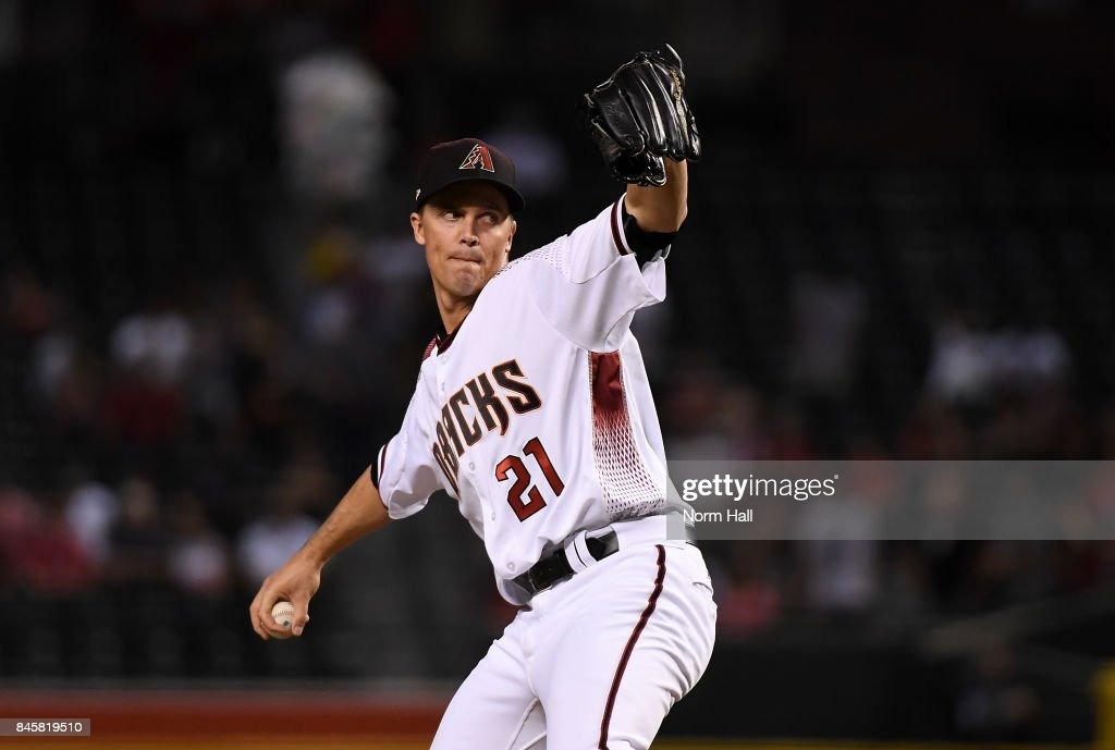 Zack Greinke #21 of the Arizona Diamondbacks delivers a first inning pitch against the Colorado Rockies at Chase Field on September 11, 2017 in Phoenix, Arizona.