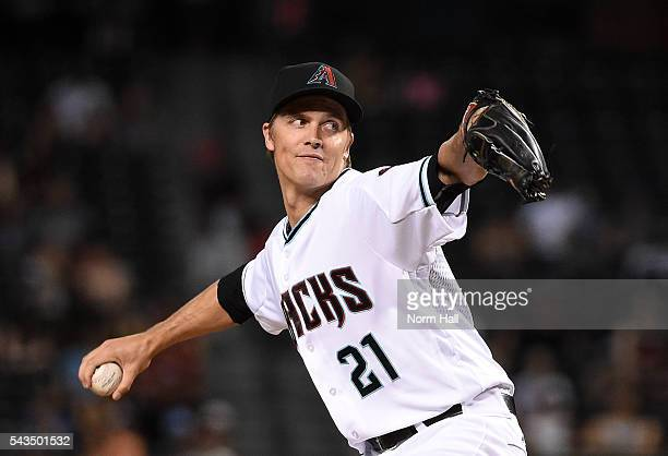Zack Greinke of the Arizona Diamondbacks delivers a pitch during the first inning against the Philadelphia Phillies at Chase Field on June 28 2016 in...