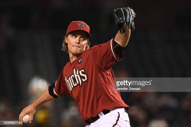 Zack Greinke of the Arizona Diamondbacks delivers a pitch in the first inning of the MLB game against the San Francisco Giants at Chase Field on...