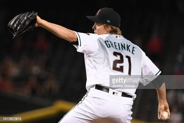 Zack Greinke of the Arizona Diamondbacks delivers a pitch in the first inning of the MLB game against the Philadelphia Phillies at Chase Field on...