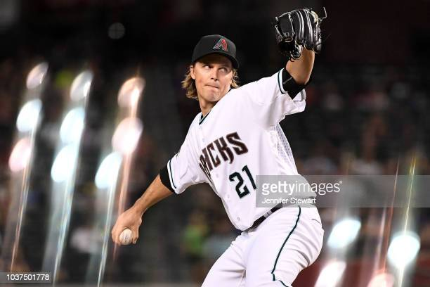 Zack Greinke of the Arizona Diamondbacks delivers a pitch in the first inning of the MLB game against the Colorado Rockies at Chase Field on...