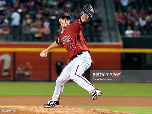 Zack Greinke of the Arizona Diamondbacks delivers a pitch in the first inning of the MLB game at Chase Field on September 11 2016 in Phoenix Arizona
