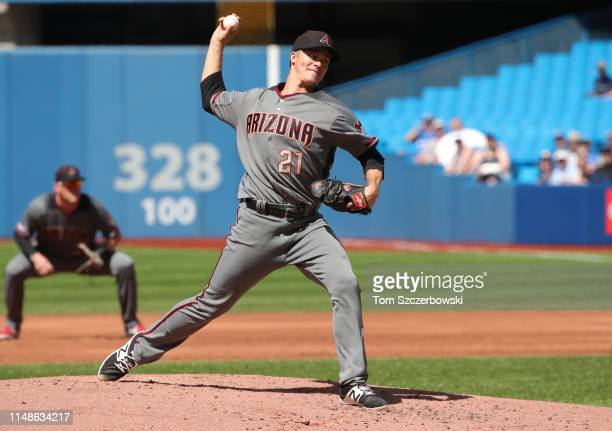 Zack Greinke of the Arizona Diamondbacks delivers a pitch in the second inning during MLB game action against the Toronto Blue Jays at Rogers Centre...