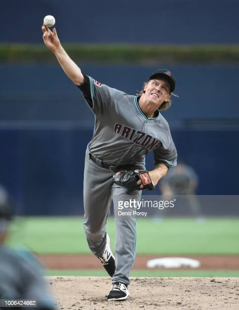 Zack Greinke of the Arizona Diamondbacks pitches during the first inning of a baseball game against the San Diego Padres PETCO Park on July 27 2018...