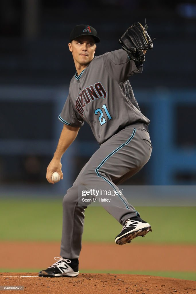 Zack Greinke #21 of the Arizona Diamondbacks pitches during the first inning of a game against the Los Angeles Dodgers at Dodger Stadium on September 5, 2017 in Los Angeles, California.