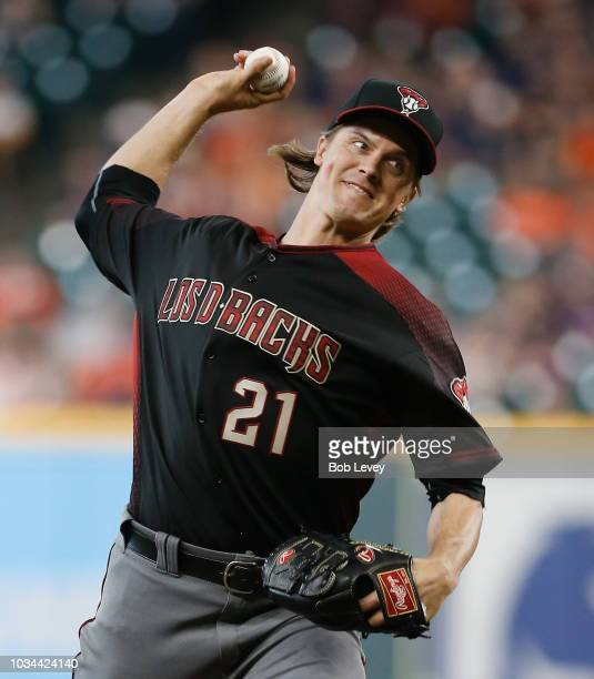 Zack Greinke of the Arizona Diamondbacks pitches in the first inning against the Houston Astros at Minute Maid Park on September 16 2018 in Houston...