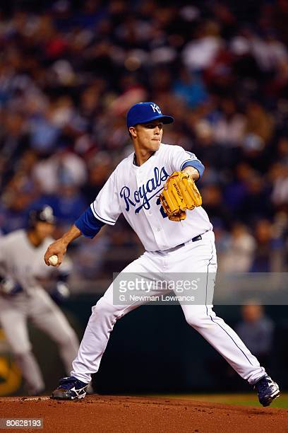 Zack Greinke of the Kansas City Royals pitches against the New York Yankees on April 9 2008 at Kauffman Stadium in Kansas City Missouri