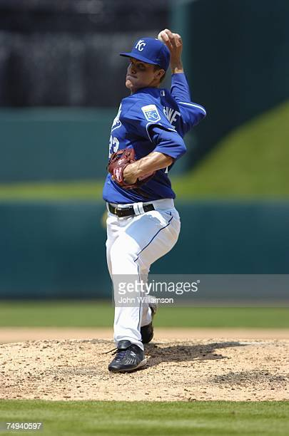 Zack Greinke of the Kansas City Royals pitches during the game against the Florida Marlins at Kauffman Stadium in Kansas City Missouri on June 17...