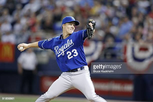 Zack Greinke of the Kansas City Royals pitches to the Minnesota Twins on October 3 2009 at the Metrodome in Minneapolis Minnesota The Twins won 54