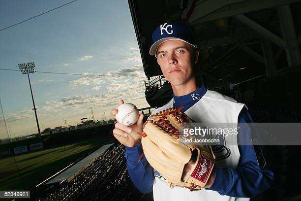 Zack Greinke of the Kansas City Royals poses for a portrait during Spring Training Photo Day at Surprise Stadium on February 26, 2005 in Surprise,...