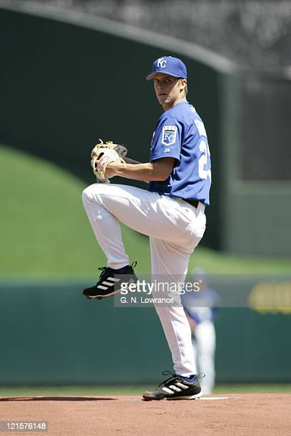 Zack Greinke of the Kansas City Royals started and pitched 6 scoreless innings against the Seattle Mariners at Kauffman Stadium on April 13 2005...