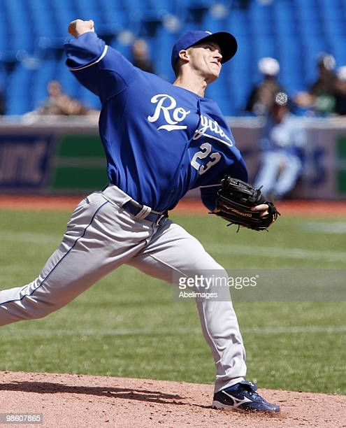 Zack Greinke of the Kansas City Royals throws against the Toronto Blue Jays during a MLB game at the Rogers Centre April 21 2010 in Toronto Ontario...