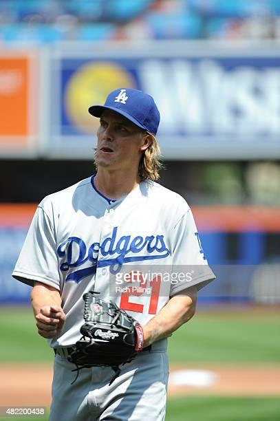 Zack Greinke of the Los Angeles Dodgers is seen during the game against the New York Mets on July 26 2015 at Citi Field in the Flushing neighborhood...