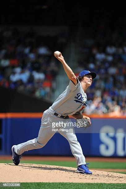 Zack Greinke of the Los Angeles Dodgers pitches during the game against the New York Mets on July 26 2015 at Citi Field in the Flushing neighborhood...