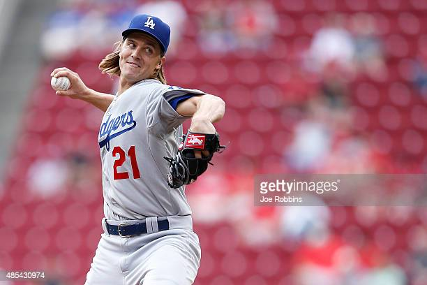 Zack Greinke of the Los Angeles Dodgers pitches in the first inning against the Cincinnati Reds at Great American Ball Park on August 27 2015 in...