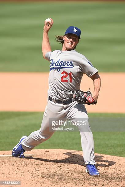 Zack Greinke of the Los Angeles Dodgers pitches in the seventh inning inning during a baseball game against the Washington Nationals at Nationals...