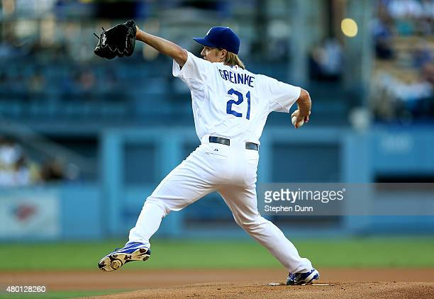 Zack Greinke of the Los Angeles Dodgers throws a pitch against the Philadelphia Phillies at Dodger Stadium on July 9 2015 in Los Angeles California