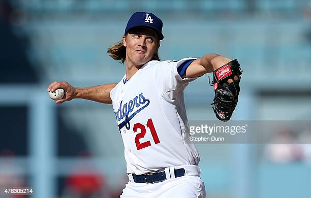 Zack Greinke of the Los Angeles Dodgers throws a pitch against the St Louis Cardinals at Dodger Stadium on June 7 2015 in Los Angeles California