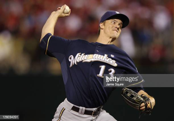 Zack Greinke of the Milwaukee Brewers throws apitch against the St Louis Cardinals during Game Five of the National League Championship Series at...