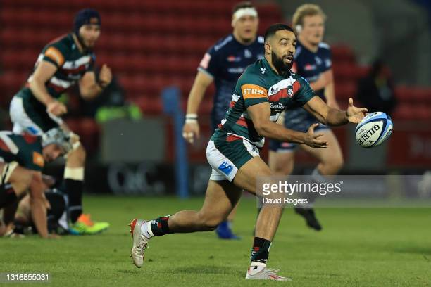 Zack Henry of Leicester during the Gallagher Premiership Rugby match between Sale Sharks and Leicester Tigers at AJ Bell Stadium on May 07, 2021 in...