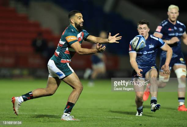 Zack Henry of Leicesters Tigers passes the ball during the Gallagher Premiership Rugby match between Sale Sharks and Leicester Tigers at AJ Bell...