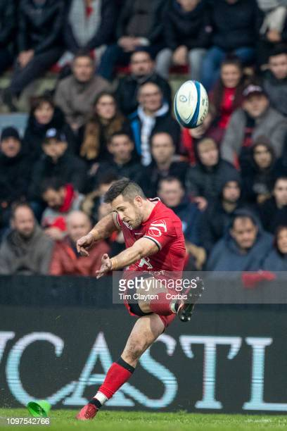Zack Holmes of Toulouse kicks a penalty during the Stade Toulouse Vs Bath European Rugby Championship Cup at the Ernest Wallon Stadium on January...