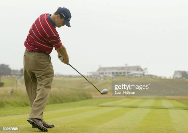 Zack Johnson hits his tee shot on the ninth hole during the second day of practice at the 104th U.S. Open at Shinnecock Hills Golf Club on June 15,...