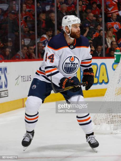 Zack Kassian of the Edmonton Oilers against the Calgary Flames at Scotiabank Saddledome on March 13 2018 in Calgary Alberta Canada