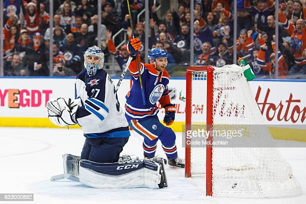 Zack Kassian of the Edmonton Oilers celebrates a goal against goalie Connor Hellebuyck of the Winnipeg Jets on December 11 2016 at Rogers Place in...