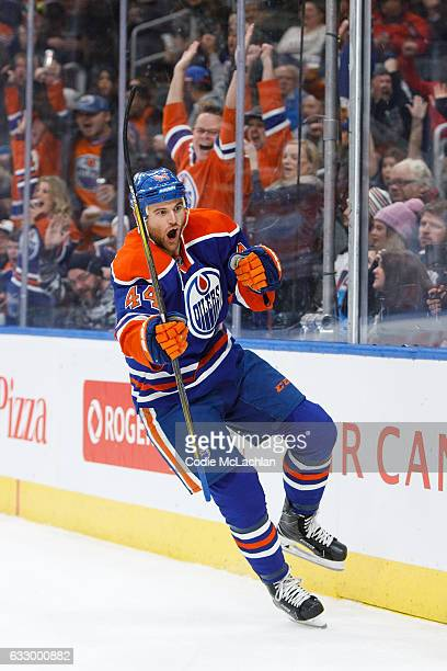 Zack Kassian of the Edmonton Oilers celebrates a goal against the Winnipeg Jets on December 11 2016 at Rogers Place in Edmonton Alberta Canada