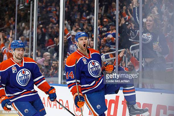 Zack Kassian of the Edmonton Oilers celebrates a goal with teammate Anton Slepyshev against the Winnipeg Jets on December 11 2016 at Rogers Place in...
