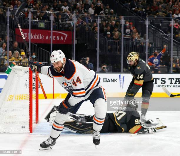 Zack Kassian of the Edmonton Oilers celebrates after scoring a goal against Robin Lehner of the Vegas Golden Knights in the third period of their...