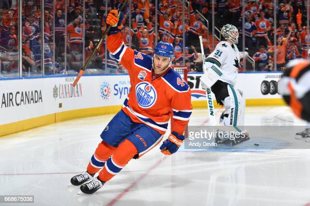Zack Kassian of the Edmonton Oilers celebrates after scoring a goal in Game Two of the Western Conference First Round during the 2017 NHL Stanley Cup...