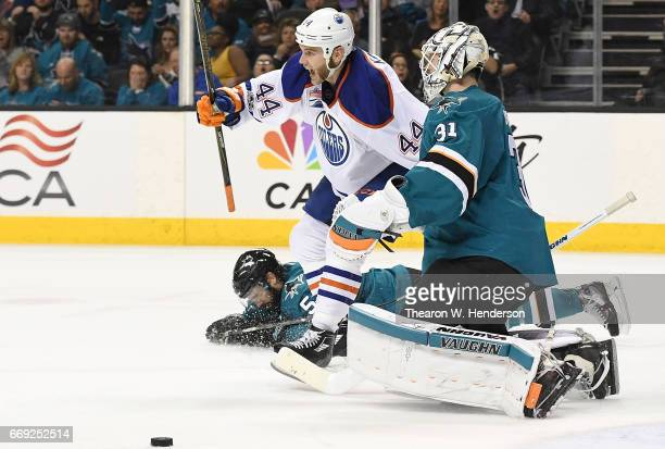 Zack Kassian of the Edmonton Oilers celebrates after scoring a goal on goalie Martin Jones of the San Jose Sharks during the third period in Game...