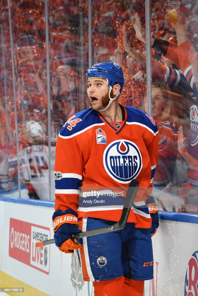 Zack Kassian #44 of the Edmonton Oilers celebrates after scoring a goal in Game Six of the Western Conference Second Round during the 2017 NHL Stanley Cup Playoffs against the Anaheim Ducks on MAY 7, 2017 at Rogers Place in Edmonton, Alberta, Canada.