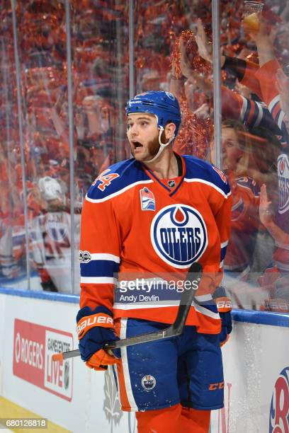 Zack Kassian of the Edmonton Oilers celebrates after scoring a goal in Game Six of the Western Conference Second Round during the 2017 NHL Stanley...