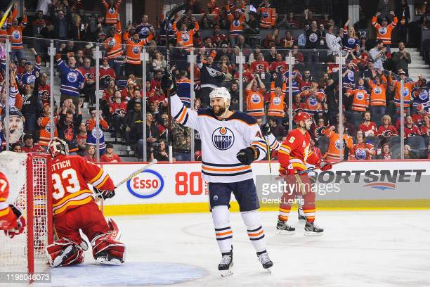 Zack Kassian of the Edmonton Oilers celebrates after scoring against the Calgary Flames during an NHL game at Scotiabank Saddledome on February 1,...