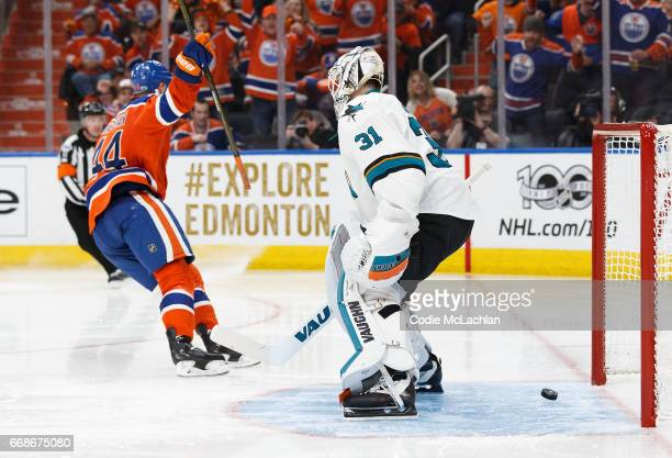 Zack Kassian of the Edmonton Oilers celebrates his goal against goalie Martin Jones of the San Jose Sharks in Game Two of the Western Conference...