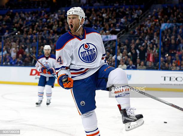 Zack Kassian of the Edmonton Oilers celebrates his goal against the Tampa Bay Lightning at the Amalie Arena on January 19 2016 in Tampa Florida