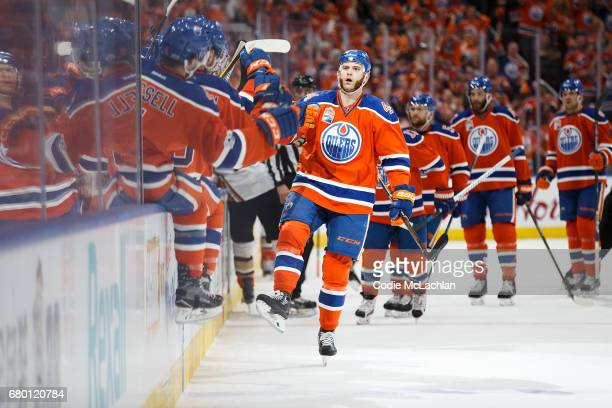 Zack Kassian of the Edmonton Oilers celebrates his goal against the Anaheim Ducks in Game Six of the Western Conference Second Round during the 2017...