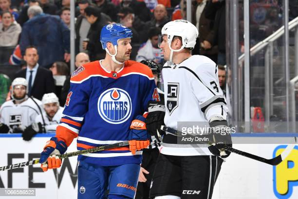 Zack Kassian of the Edmonton Oilers exchanges words with Dion Phaneuf of the Los Angeles Kings on November 29 2018 at Rogers Place in Edmonton...